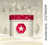christmas red and beige giftbox ... | Shutterstock .eps vector #312784349