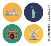 3 flat landmark icons | Shutterstock . vector #312801107