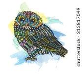 vector watercolor vintage owl... | Shutterstock .eps vector #312817049
