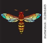 colorful wasp  stained glass