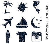 travel icons set grunge  black  ...