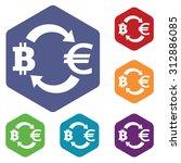 bit coin euro exchange icons...