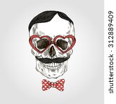 Hand Drawn Skull In Tie Bow An...