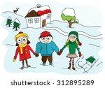 three cartoon vector kids in... | Shutterstock .eps vector #312895289