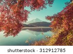 Red Frame Of Maple Leaf And Mt...