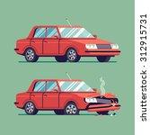 trendy flat design traffic car... | Shutterstock .eps vector #312915731