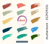 set of color vector grunge... | Shutterstock .eps vector #312929231