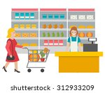scene in the store with cashier ... | Shutterstock . vector #312933209