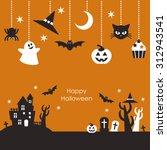 scenery of halloween night  ... | Shutterstock .eps vector #312943541