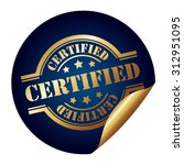 blue circle certified... | Shutterstock . vector #312951095