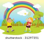 illustration of kids playing... | Shutterstock .eps vector #31297351