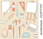 big set of professional tools...   Shutterstock .eps vector #312977747
