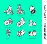 raw food. fresh fruit icon set.  | Shutterstock .eps vector #312982991