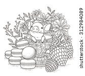 Adorable Piggy Coloring Page I...