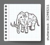 mammoth doodle | Shutterstock . vector #312985211
