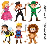 boys and girls in fancy costumes | Shutterstock .eps vector #312989354