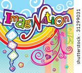 Vector illustration with Imagination text - stock vector
