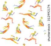 seamless pattern of fleeing... | Shutterstock .eps vector #312992174