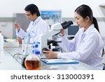 pretty young scientist setting... | Shutterstock . vector #313000391