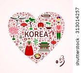 korea travel concept. heart...   Shutterstock .eps vector #313014257