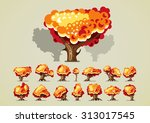 set of trees in autumn for...