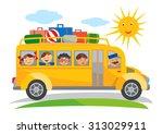 school bus field trip cartoon.... | Shutterstock .eps vector #313029911