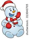 sitting snowman  christmas... | Shutterstock .eps vector #313043705