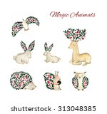 set of watercolor animals. cute ... | Shutterstock . vector #313048385