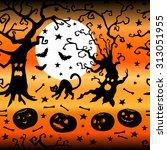 halloween decorative pattern... | Shutterstock .eps vector #313051955