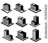 office buildings icons | Shutterstock .eps vector #313054625