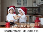 Two Cute Boys With Santa Hat ...