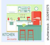 flat kitchen interior with bar... | Shutterstock .eps vector #313095575