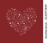 outlined heart shaped autumn... | Shutterstock .eps vector #313097849