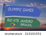 directional signs. olympic...   Shutterstock . vector #313101551
