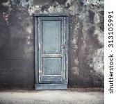 Old Blue Wooden Door In Dark...
