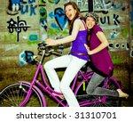 two girls having fun on a... | Shutterstock . vector #31310701
