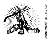 hockey goaltender. illustration ... | Shutterstock .eps vector #313117769