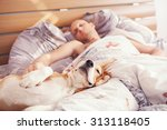 beagle dog sleep with his owner ... | Shutterstock . vector #313118405