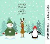 cute cartoon christmas card... | Shutterstock .eps vector #313124651