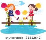 illustration of girls standing... | Shutterstock .eps vector #31312642