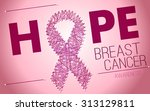 breast cancer awareness pink... | Shutterstock .eps vector #313129811