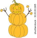 halloween pumpkin snowman... | Shutterstock .eps vector #313131185