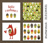 set of greeting card  hello... | Shutterstock .eps vector #313134431