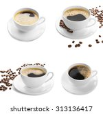 cups of coffee isolated on white | Shutterstock . vector #313136417