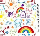 children's painting background  ... | Shutterstock . vector #313138985