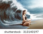 woman relaxes in front of big... | Shutterstock . vector #313140197