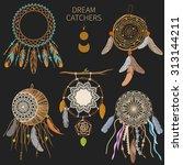 dream catchers on dark... | Shutterstock .eps vector #313144211