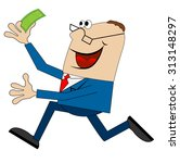 cheerful man running with money ... | Shutterstock .eps vector #313148297