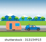 family traveling by car with... | Shutterstock .eps vector #313154915