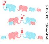 Stock vector cute elephants 313168871